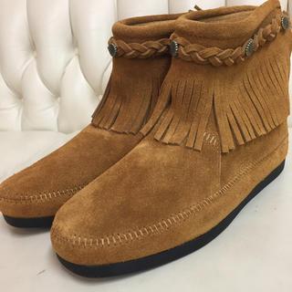 ミネトンカ(Minnetonka)のミネトンカ バックジップブーツ ブラウン US9(ブーツ)
