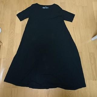 ムジルシリョウヒン(MUJI (無印良品))のモダールコットン五分袖ワンピース/ブラック(ひざ丈ワンピース)