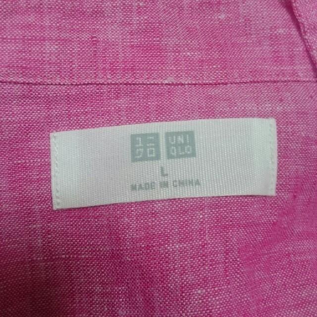 UNIQLO(ユニクロ)のUNIQLO リネンシャツ 長袖 ピンク レディースのトップス(シャツ/ブラウス(長袖/七分))の商品写真