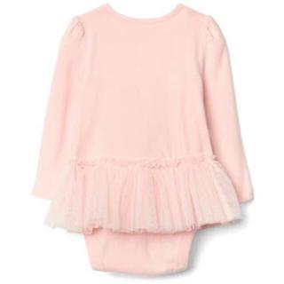 ベビーギャップ(babyGAP)のGAP♡新品 ベビーピンク 長袖ロンパース60 ピンクチュチュ付(ロンパース)