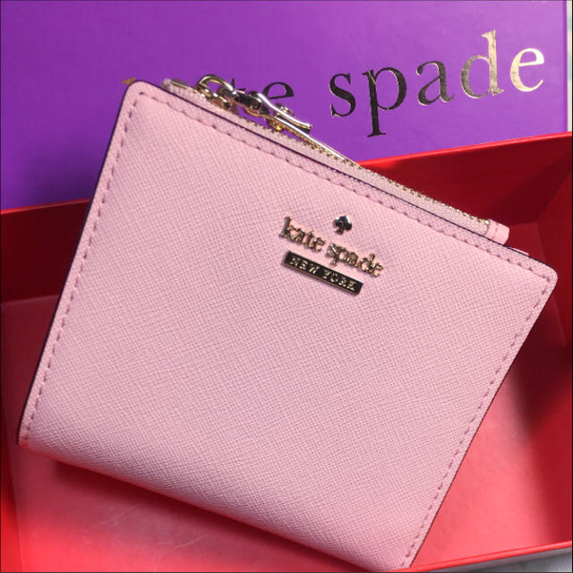 online retailer d1bdb 2d299 kate spade ケイトスペード 二つ折り財布 ピンク ストライプ ミニ | フリマアプリ ラクマ