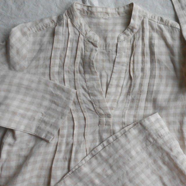 ■無印良品■麻リネン100%■ワンピース■チュニック■袖短め■白&薄茶■M レディースのトップス(チュニック)の商品写真