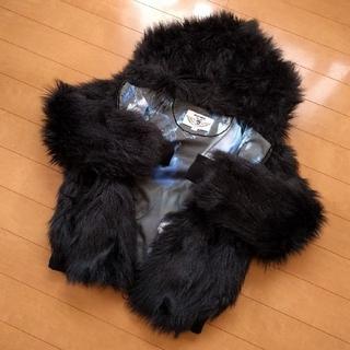 ディーゼル(DIESEL)のファー フェイクファー フード ジャケット ブルゾン 黒 ブラック(毛皮/ファーコート)
