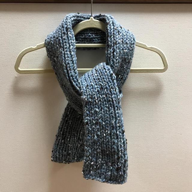 手編みのマフラー ハンドメイドのファッション小物(マフラー/ストール)の商品写真