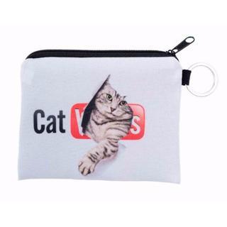 猫ポーチ 猫小物入れ 猫小銭入れ♪ 新品未使用品 送料無料♪(猫)