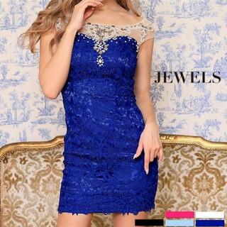 ジュエルズ(JEWELS)のjewel✨シースルー刺繍ドレス ブルー(ミニドレス)