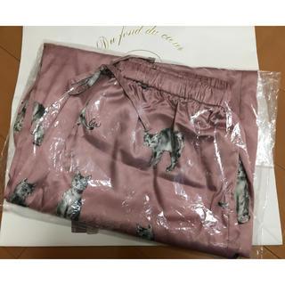 ジェラートピケ(gelato pique)のタグ付き♪正規品♡キャットモチーフサテン ロングパンツ ピンク♡ジェラートピケ(パジャマ)