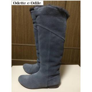 オデットエオディール(Odette e Odile)のオデットエオディールファースエードフラットロングブーツ36 23.5(ブーツ)