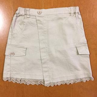 ジーユー(GU)のベージュのミニスカート(巻きスカート風)150㎝(スカート)