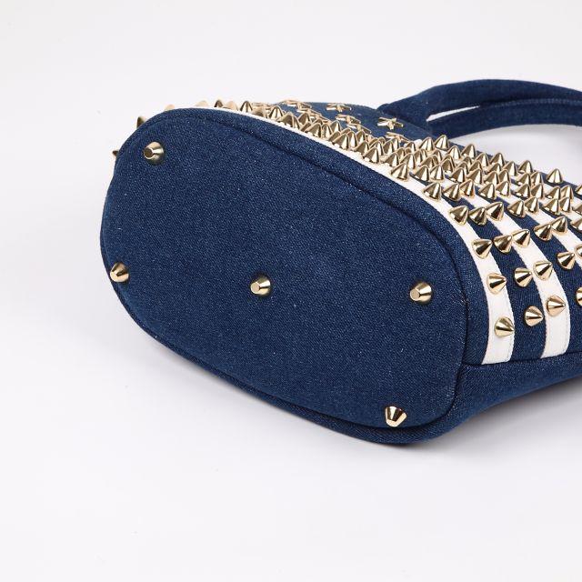 エキドナスタッズバッグ デニム濃青×白×金 024 レディースのバッグ(トートバッグ)の商品写真