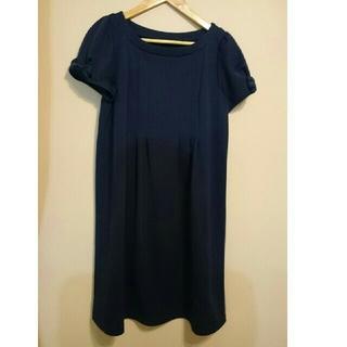 クチュールブローチ(Couture Brooch)の面接⭐入学式⭐クチュールブローチ袖リボンワンピース紺40⭐マタニティ フォーマル(マタニティワンピース)