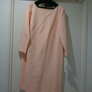 未使用  蛍光色ジャガートワンピース(ひざ丈ワンピース)