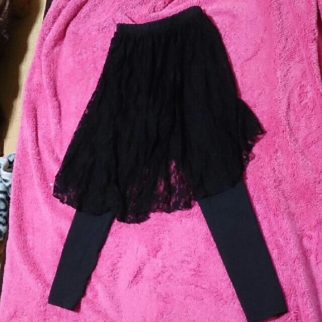 GU(ジーユー)のGUレーススカート付きレギンス 黒 レディースのレッグウェア(レギンス/スパッツ)の商品写真