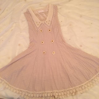 リズリサ(LIZ LISA)のリズリサ LIZLISA ワンピース 編み上げ 襟 ビジュー ピンク(ミニワンピース)