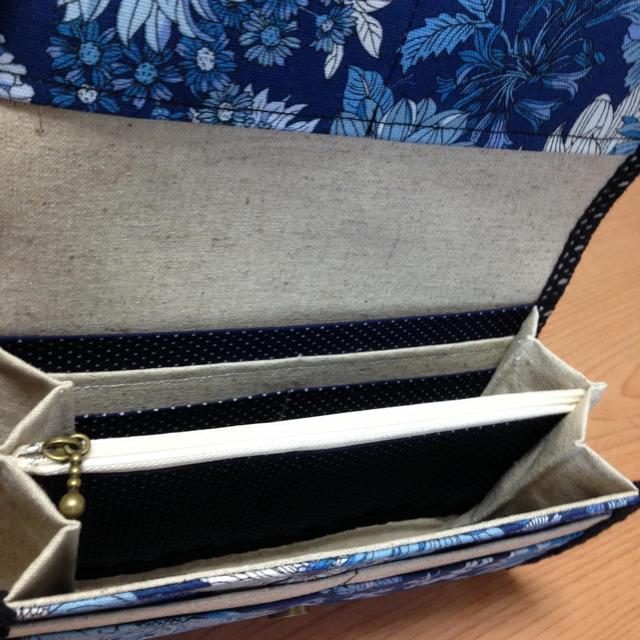 ハンドメイド長財布・通帳入メモアール・パリ ブルー ハンドメイドのファッション小物(財布)の商品写真
