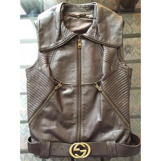 グッチ(Gucci)の大変美品 2way GUCCI レディース 革ジャン 革ベスト ジレ ベルト付き(ライダースジャケット)