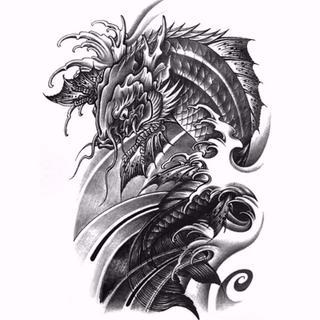 タトゥーシール ドラゴン 龍 刺青❤防水 防汗 長持ち❤リヴァイアサン(アクセサリー)