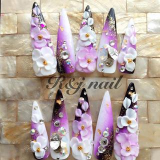 和風♡鬼ポ♡紫黒グラデ♡3Dお花♡ビジュー盛りネイル