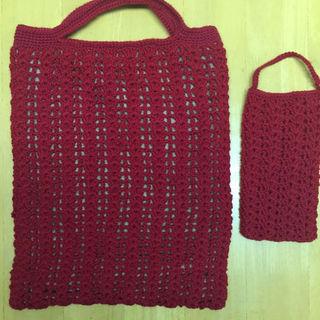 手編みバッグ 携帯ケース付き(バッグ)