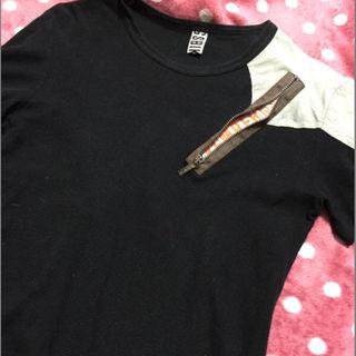ダークビッケンバーグ(DIRK BIKKEMBERGS)のダークビッケンバーグ★イタリア製~ファスナー隠れロゴTシャツ★半袖(Tシャツ/カットソー(半袖/袖なし))