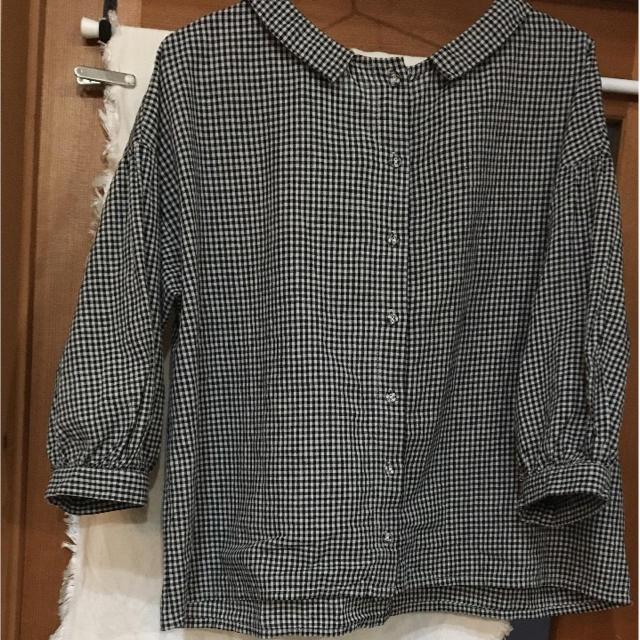 nest Robe(ネストローブ)のブルーウィロー ギンガム丸襟シャツ レディースのトップス(シャツ/ブラウス(長袖/七分))の商品写真