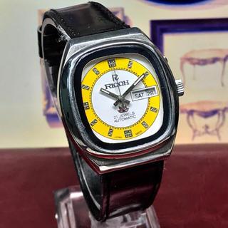 リコー(RICOH)の'70s Vint. リコー 自動巻メンズウォッチ OH済 ホワイト/イエロー(腕時計(アナログ))