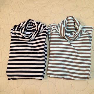 シップス(SHIPS)のSHIPS kids ボーダー コットンタートルニット 2枚組 男女兼用(Tシャツ/カットソー)