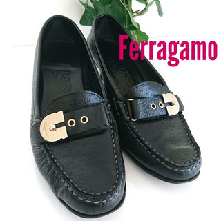 サルヴァトーレフェラガモ(Salvatore Ferragamo)の正規 フェラガモ ガンチーニ ヒール ローファー パンプス モカシン 革靴 黒(ハイヒール/パンプス)