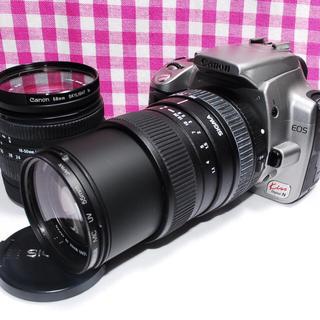 キヤノン(Canon)の❤相棒と出かけよう❤Canon Kiss N ダブルズームレンズ♪元箱付き✨(デジタル一眼)