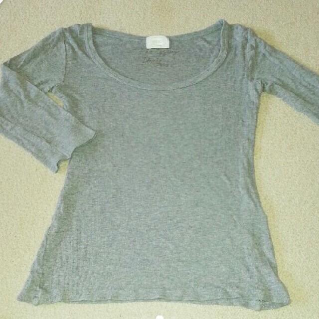 Uネック 七分袖T ライトグレー レディースのトップス(Tシャツ(長袖/七分))の商品写真