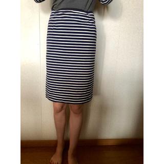 ワールドベーシック(WORLD BASIC)のペンタイルジャージタイトスカートネイビーボーダー柄(ひざ丈スカート)