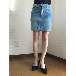 ブルームーンブルー(BLUE MOON BLUE)の送料込!ブルーデニムタイトフィットスカートSサイズ美シルエット(ミニスカート)
