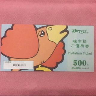 スカイラーク(すかいらーく)のガスト すかいらーく 株主優待券 500円割引券 2枚 送料込(レストラン/食事券)