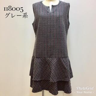 新品❤︎裾フリル合皮配色ジャンパースカート 118005☆LL グレー系(ひざ丈ワンピース)