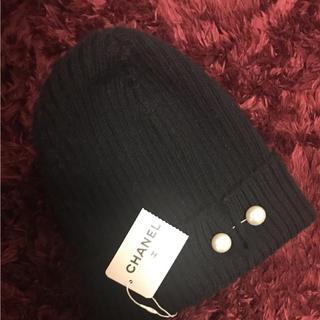 シャネル(CHANEL)のCHANEL パール付きニット帽(ニット帽/ビーニー)