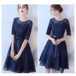 新作 ♡ドレス レースチュールワンピース 結婚式パーティー 5色(ミディアムドレス)
