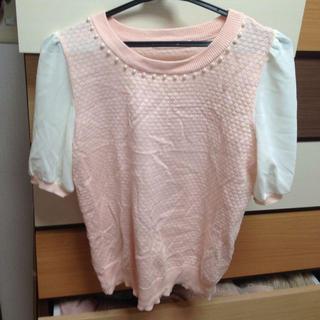 マジェスティックレゴン(MAJESTIC LEGON)のパール付トップス(Tシャツ(半袖/袖なし))