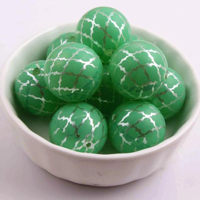 モロッカン柄 大粒パール グリーン ハンドメイドの素材/材料(各種パーツ)の商品写真