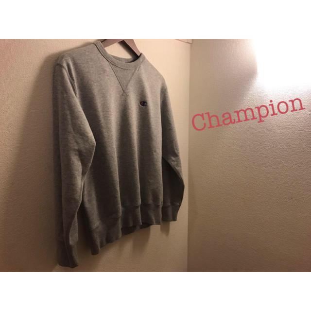 Champion(チャンピオン)のチャンピオン メンズ スウェット トレーナー グレー ワンポイント メンズのトップス(スウェット)の商品写真