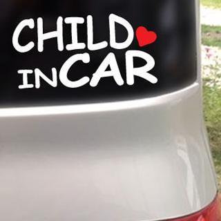 CHILD IN CAR ハート付/ステッカー(白)cmcチャイルドインカー(車外アクセサリ)