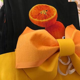 インスタ映えシースルー浴衣オレンジ柄ブラックインナーキャミ付き(浴衣)