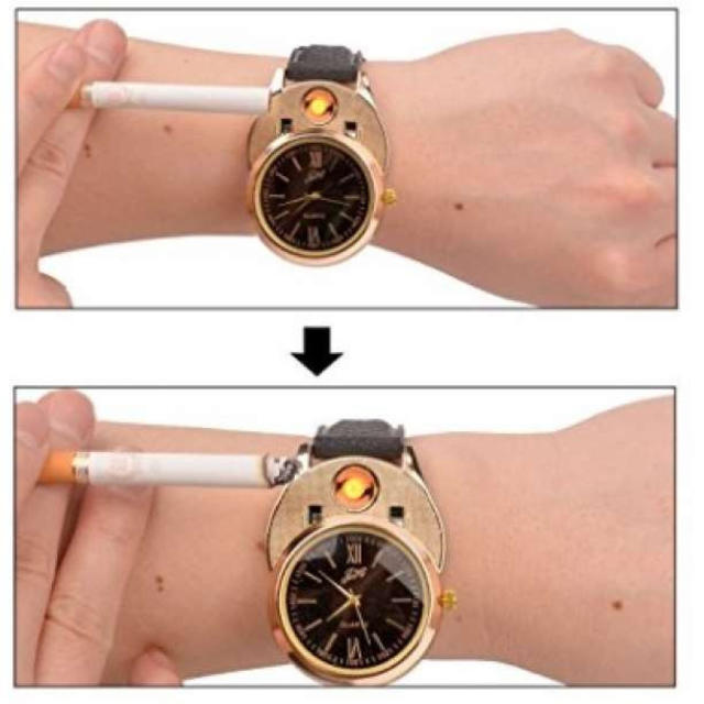 ライター付き 腕時計 金x黒 メンズの時計(腕時計(アナログ))の商品写真