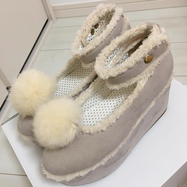 LIZ LISA(リズリサ)の美品♡LIZLISA♡ファーポンスエードシューズ♡グレー レディースの靴/シューズ(ブーツ)の商品写真