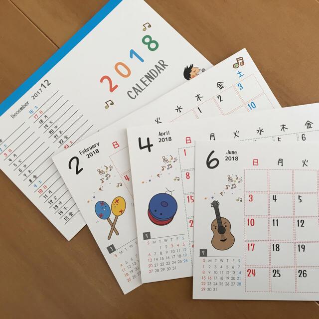 楽器キャラでかわいい2018年卓上カレンダー ハンドメイドの文具/ステーショナリー(その他)の商品写真