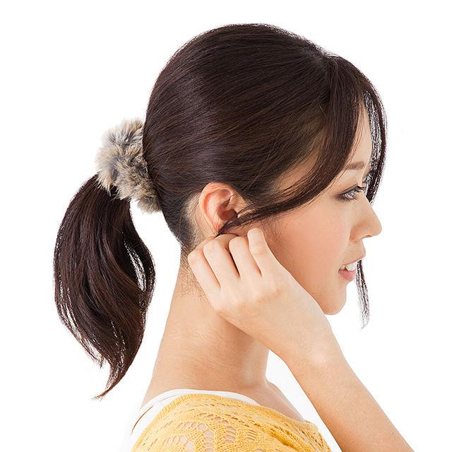 肌触りが気持ちいい~♪ ラビットファーシュシュ MQVY0012/ブラウン レディースのヘアアクセサリー(その他)の商品写真