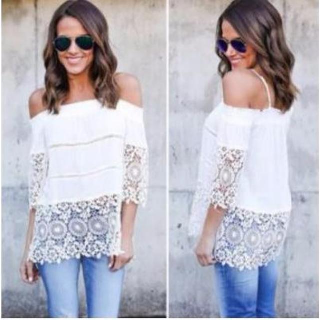 Lサイズ ホワイト 白 シースルー 花柄 ワンピース シャツ ブラウス レディースのトップス(シャツ/ブラウス(長袖/七分))の商品写真