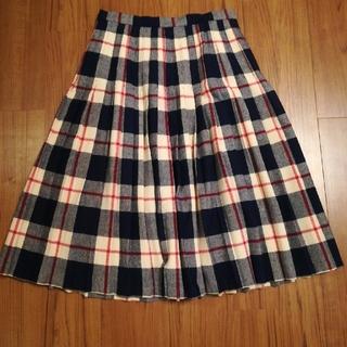 フラワー(flower)の値下げ!LLサイズ 古着 チェックプリーツスカート(ひざ丈スカート)