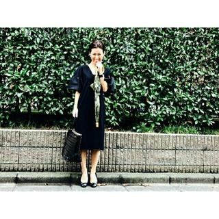 新品 2017SS YOKO CHAN ラッフルスリーブドレス 黒 38(ミニワンピース)