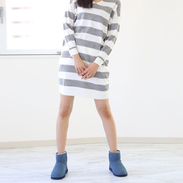 BEARPAW(ベアパウ)の新品☆ ベアパウ デニム ムートンブーツ ショート シープスキン ブルー レディースの靴/シューズ(ブーツ)の商品写真