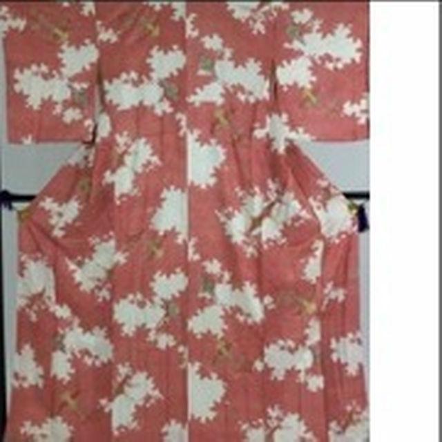 【送料無料】正絹小紋 155/48 赤 草花文 鶴のお着物 #385 レディースの水着/浴衣(着物)の商品写真